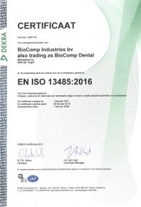 NL ISO certificaat BioComp Industries